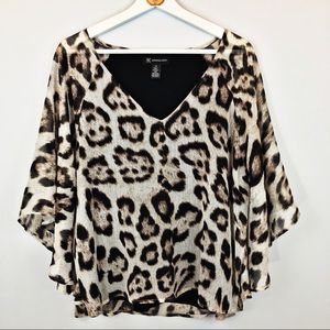 INC Leopard Tailored Poncho Top